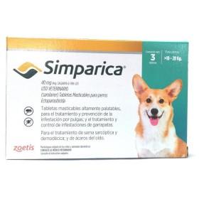 SIMPARICA 40MG DE 10-20KG UND ZOETIS Antipulgas y Garrapatas